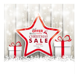 Snowfall Sale Gifts Stars Ash Wooden Background