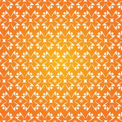 Fond Motif Ronde de Personnages Stylisés Etoiles Orange et Blanc