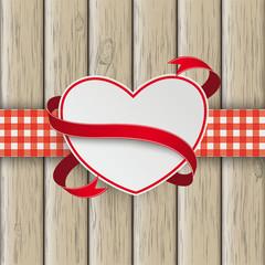 Heart Flag Double Cloth Valentinsday Wood