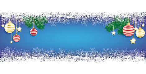 Long Blue Baubles Christmas Card Double Snow Banner