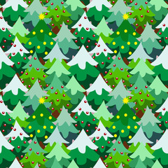Christmas theme pine tree forest seamless pattern