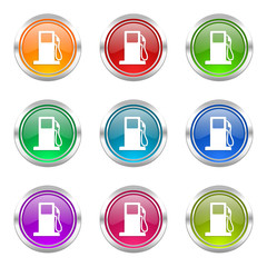 fuel colorful vector icons set
