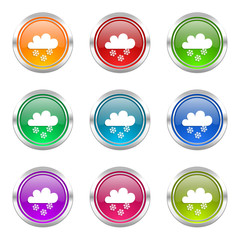 snowing colorful vector icons set
