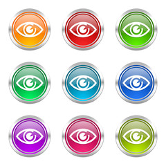 eye colorful vector icons set