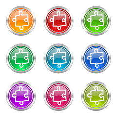 puzzle colorful vector icons set