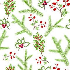 Seamless vector pattern with floral branches winter christmas ha