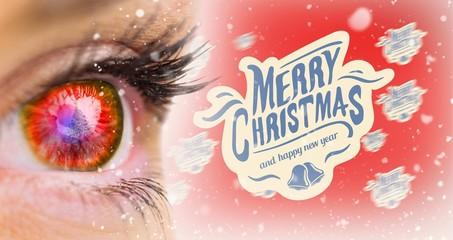 Composite image of red glowing eye looking ahead