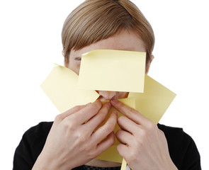 Woman and post it