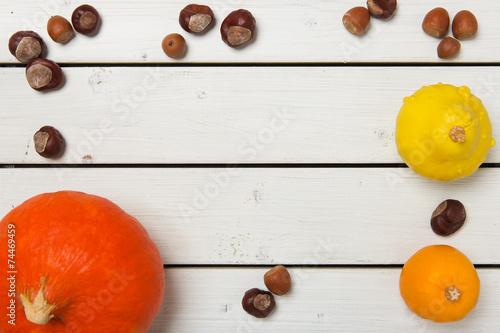 canvas print picture Herbstliche Stimmung mit Kürbissen vor rustikalem Holz