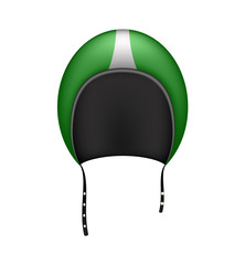 Retro motorcycle helmet in dark green design