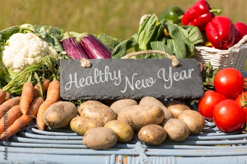 Fotobehang Boodschappen Composite image of healthy new year
