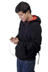 Asian student on mobile phone