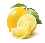 Whole lemon, half and quarter slice isolated on white