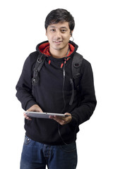 Front view of young Asian student