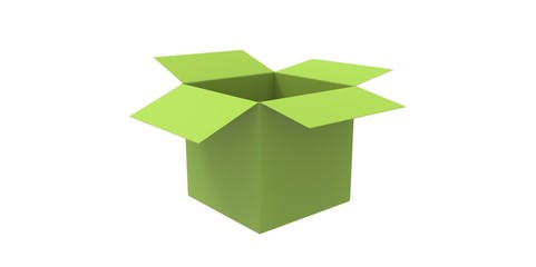 green 3D opened cardboard box isolated over white background