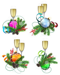 Christmas decoration elements with champagne