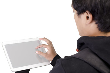 Young male student with blank digital tablet