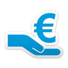 Pegatina simbolo crowdfunding euro