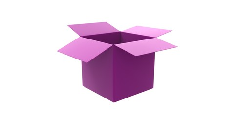 pink 3D opened cardboard box isolated over white background