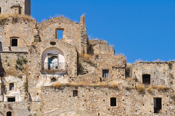Panoramic view of Craco. Basilicata. Italy.