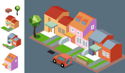 Night Neighbourhood isometric vector