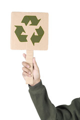 Placard with symbol of recycle