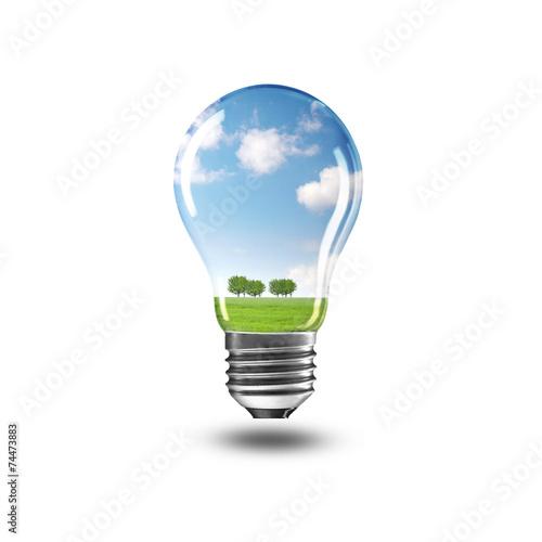 Leinwandbild Motiv Lampe mit Landschaft