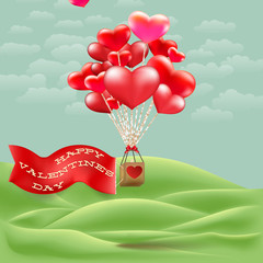 Heart-shaped hot air balloon taking off. EPS 10
