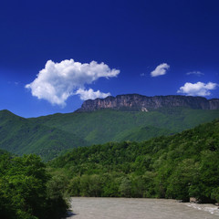 Georgia mountains and river in summer time