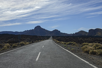 Road towards south wall of grand Las Canadas caldera, Tenerife.