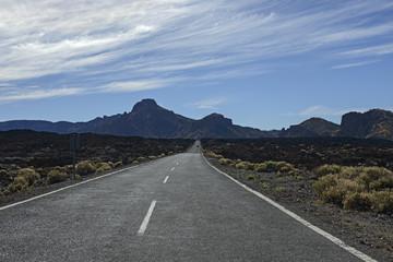 Road towards south wall of grand Las Canadas caldera, Tenerife.