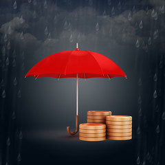 3d umbrella and gold coins, financial savings concept