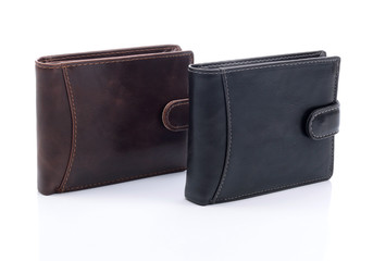 Mens leather wallets on a white background