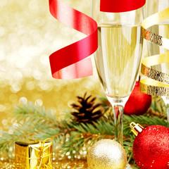Champagne and christmas decor