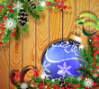 Blue Christmas ball on wooden background