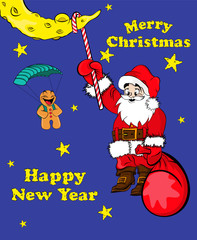 Santa Claus hanging on the moon and the gingerbread man flying o