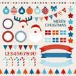 Christmas Icon Set Red/Blue/Orange/Beige