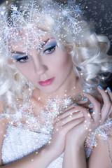 Portrait of snow queen.Winter Beauty Woman.