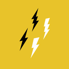 Lightning Bolt Icons on Yellow