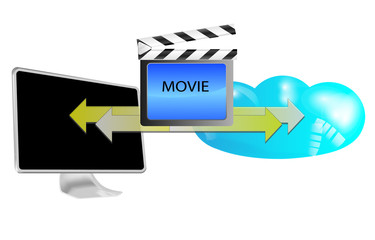 Illustration of streaming movie in cloud isolated