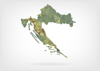 Low Poly Map of Croatia