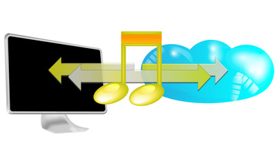 Illustration of streaming music in cloud isolated