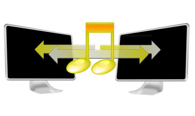 Illustration of streaming music on pc isolated