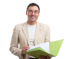 smiling businessman with a folder