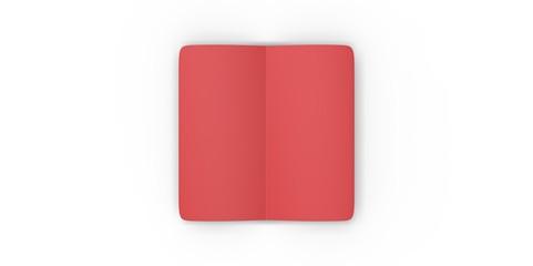 red blank magazine spread on white background