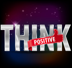 Think positive silver text with thumbs up sign, vector