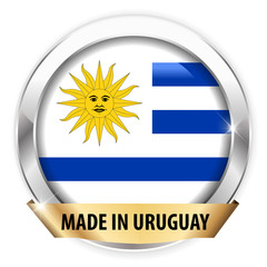 made in uruguay silver badge isolated button