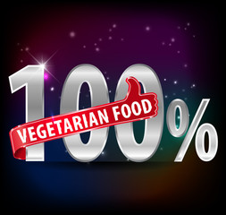 100% vegetarian food silver label with thumbs up