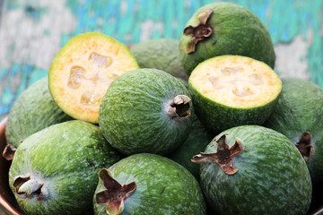 Fresh feijoa on a plate