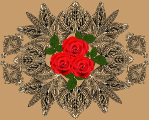 three red rose flowers in brown decoration